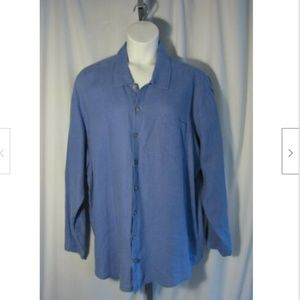Flax Periwinkle Linen Oversized Blouse